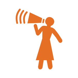 Icon of a woman yelling through a loudspeaker
