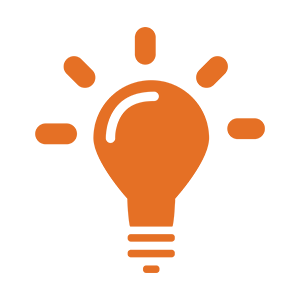 Icon of a glowing lightbulb