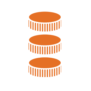 Icon of 3 coins stacked on top of each other